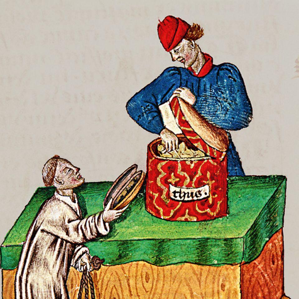Florenz um 1300: Weihrauch, unerlässlich für die katholische Liturgie, importieren die Italiener aus Arabien, andere Luxusgüter wie chinesische Seide erreichen Europa über Konstantinopel