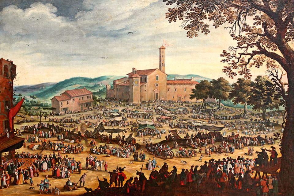 Florenz um 1300: Messen sind wichtige Handelsplätze für die italienischen Kaufleute - regionale, wie hier in einem Städtchen nahe Florenz, vor allem aber die großen, internationalen Verkaufsausstellungen, etwa in Nordfrankreich