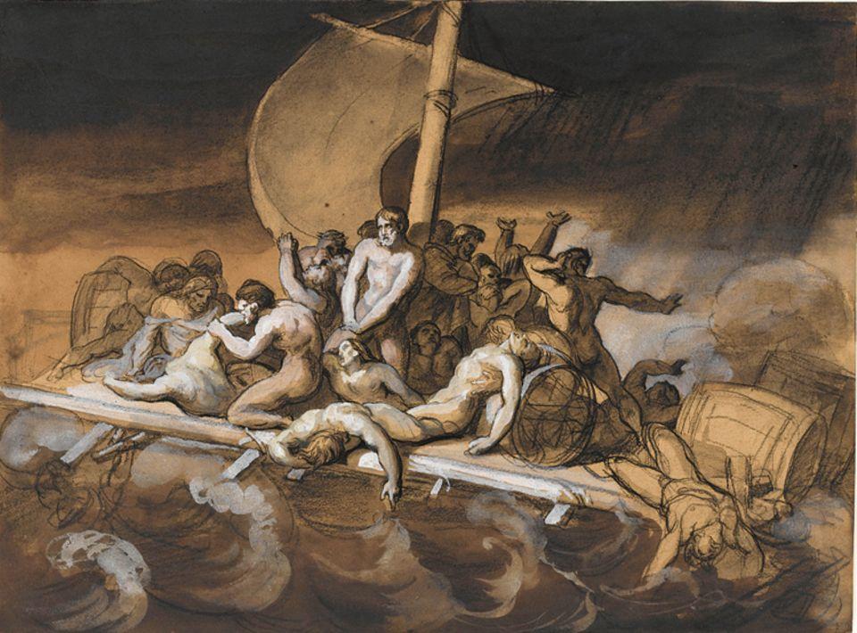 Ein Werk und seine Geschichte: Das Floß der Kannibalen: Auf ihrer Irrfahrt essen die Havarierten die Toten. Géricault zeichnet die grausame Szene erst - und verwirft sie dann wieder