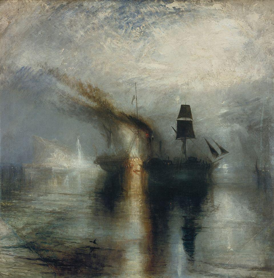 Ein Werk und seine Geschichte: Feier für einen Toten: Vor dem schemenhaften, weißen Felsen von Gibraltar liegt ein schwarzes Totenschiff: Die Flammen, die den Dampfer scheinbar verzehren, sind in Wahrheit Fackeln. Sie beleuchten die Seebestattung von David Wilkie, einem Freund des Künstlers, der auf einer Schiffsreise gestorben ist. Turner nutzt fast ausschließlich Licht und Farbe, um die Szene darzustellen - und stößt so bis an die Grenzen der gegenständlichen Malerei vor