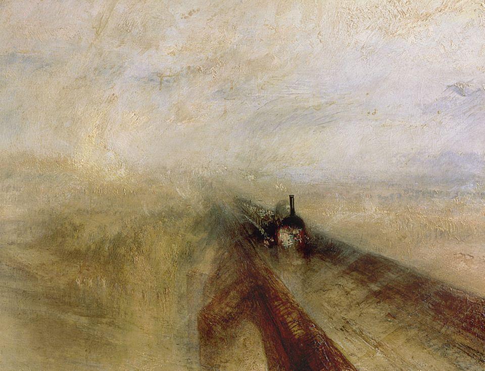 Ein Werk und seine Geschichte: Im Rausch des Neuen: Hügel, Himmel und Brücke verschmelzen zu einem Nebel, aus dem eine Lokomotive hervorschießt. Turners »Regen, Dampf und Geschwindigkeit« von 1844 wird zum Sinnbild der Industrialisierung