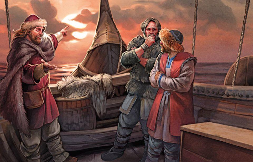 Wikinger: Auf dem offenen Meer sind die Seeleute vor allem auf ihre Erfahrung angewiesen. Kompasse gibt es noch nicht