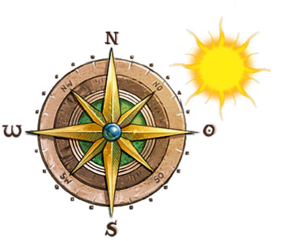 Wikinger: Kompasse gab es zu Zeiten der Wikinger noch nicht. Immerhin wissen sie: Wo die SOnne am Abend steht, ist Westen
