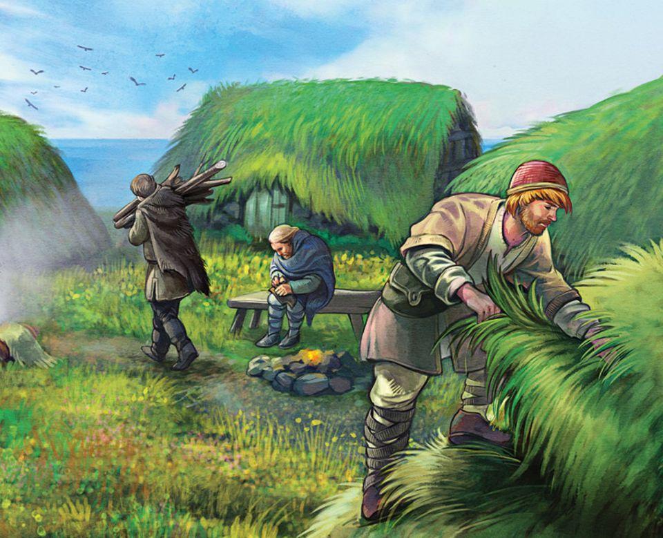 Wikinger: Im heutigen Neufundland bauen sich die Wikinger einfache Behausungen, in denen sie den Winter überstehen