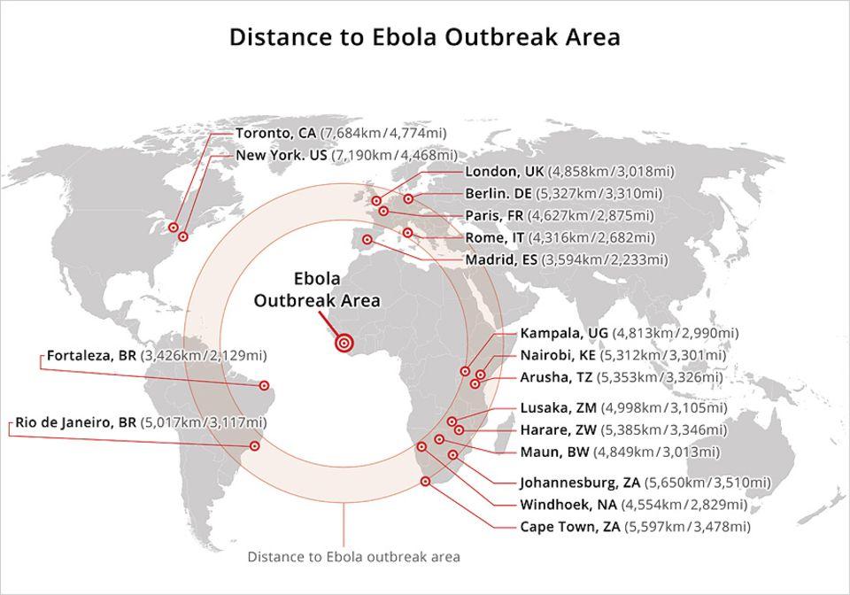 Ebola: Sehr anschaulich zeigt diese Karte, wie weit entfernt die touristischen Gebiete Afrikas vom Ebola-Epizentrum sind