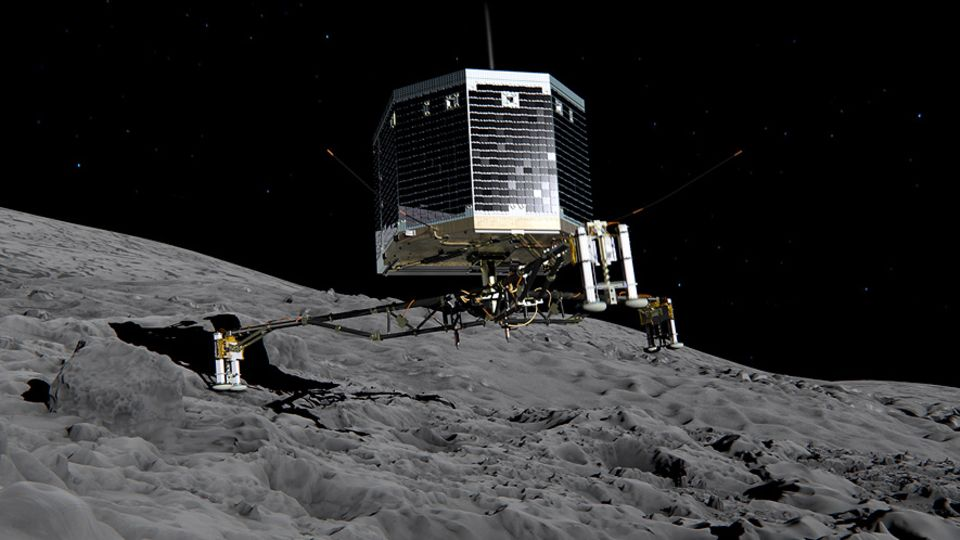 """Raumsonde Rosetta: Eine Computergrafik zeigt, wie der Lander Philae sich der Oberfläche des Kometen 67P/Churyumov-Gerasimenko (kurz: """"Tschuri"""") nähert"""