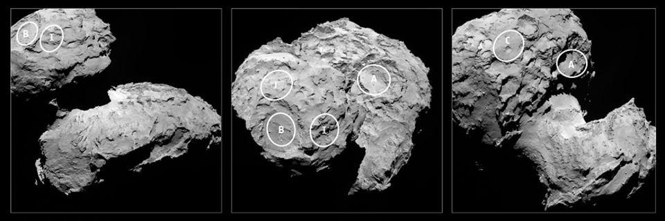 Raumsonde Rosetta: Im August 2014 wurden fünf mögliche Landeplätze für Philae identifiziert