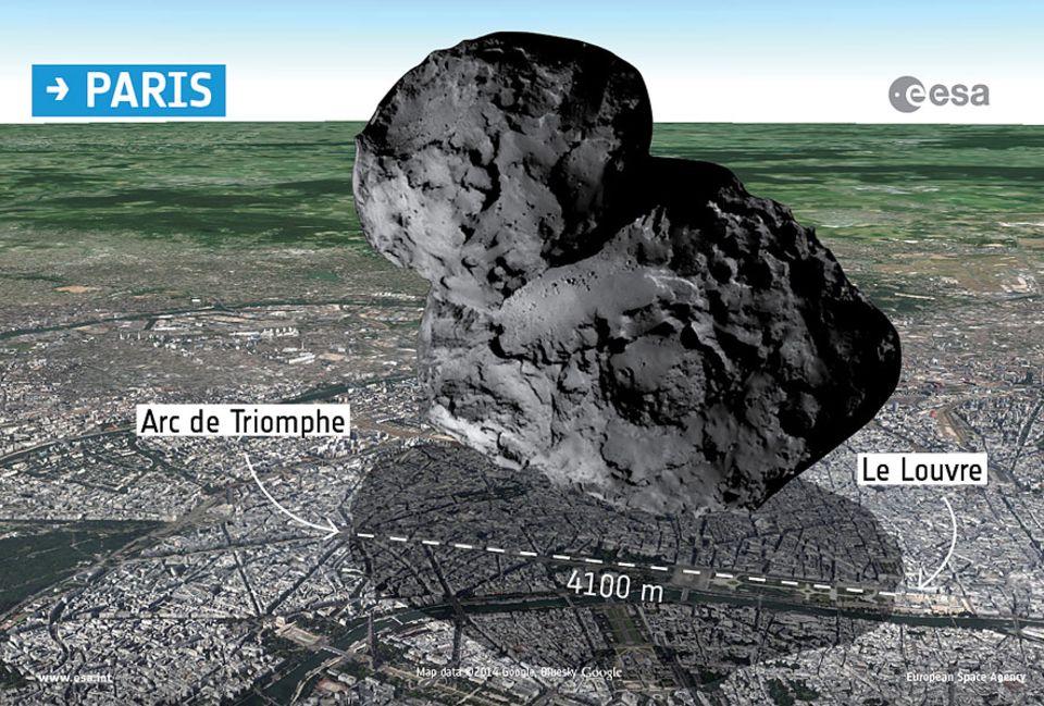 """Raumsonde Rosetta: Die Illustration zeigt, wie groß """"Tschuri"""" im Vergleich zu einer Großstadt wie Paris ist"""