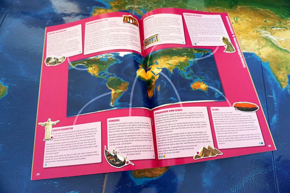 Magnetspielbuch: Zu jedem Magnetsticker gibt das Heft Informationen und verortet ihn in der Karte