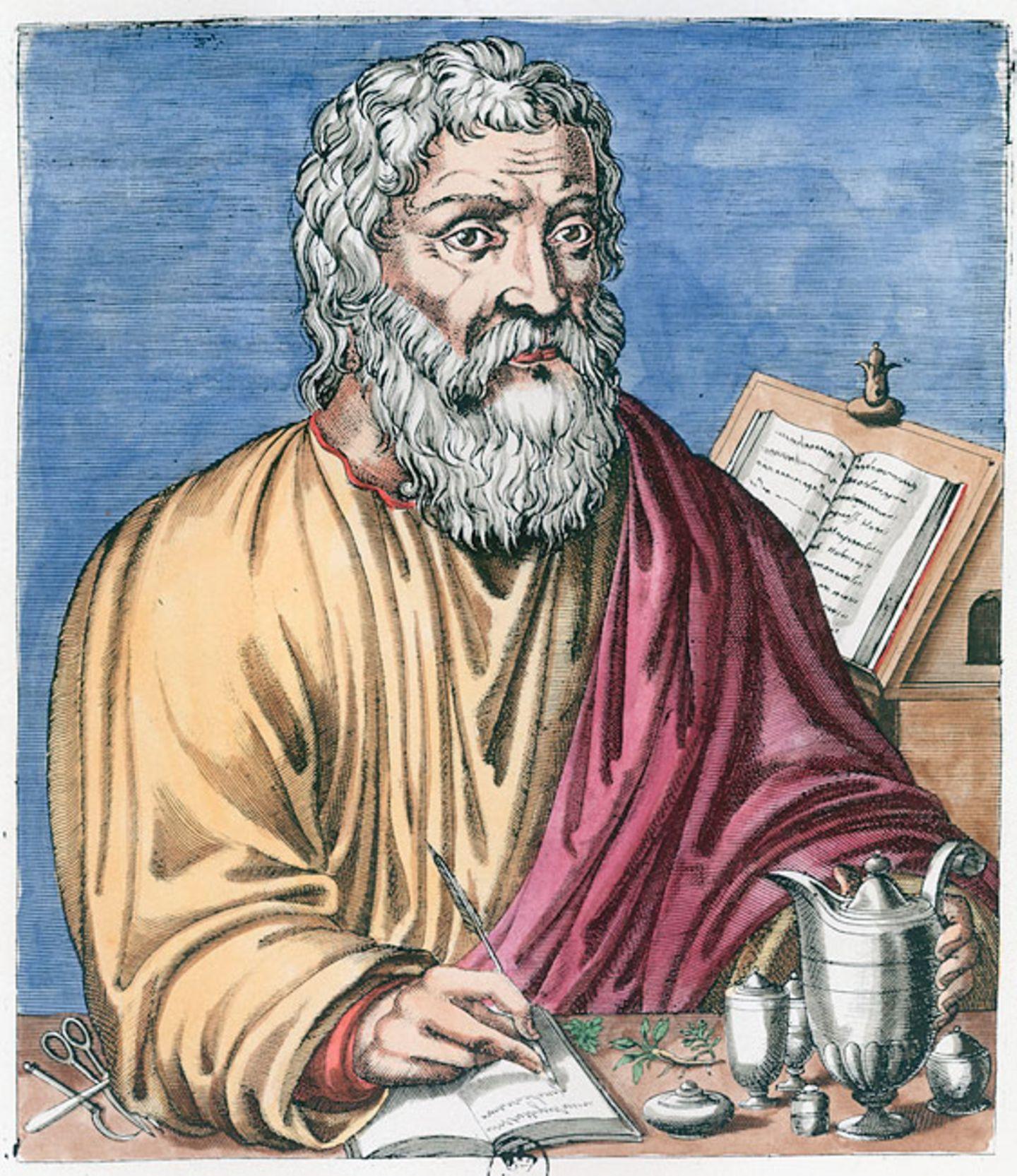 """Weltveränderer: Der griechische Arzt Hippokrates von Kos entwarf die so genannte Viersäftelehre. Man nennt ihn deshalb auch den """"Vater der Heilkunde"""""""