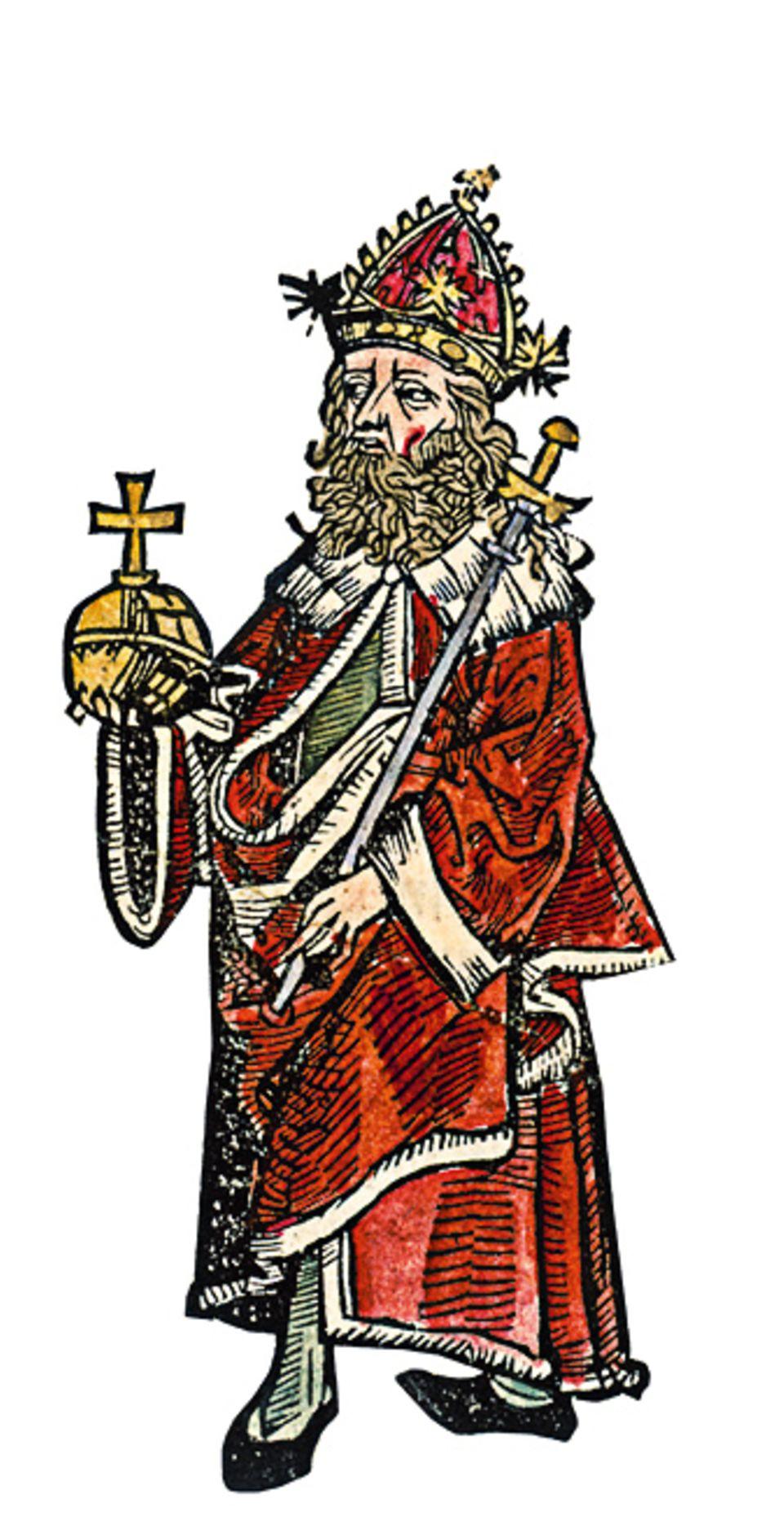 Otto der Grosse: Die Insignien der römisch-deutschen Kaiser, die Otto I. hier trägt, symbolisieren den Anspruch der Monarchen auf universale christliche Weltherrschaft (um 1490)