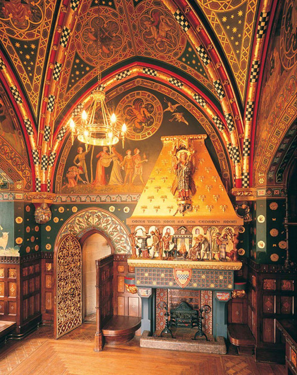 """Cardiff Castle: Der """"Winter Smoking Room"""" liegt im Uhrenturm des Schlosses und befasst sich thematisch mit dem Verstreichen von Zeit"""