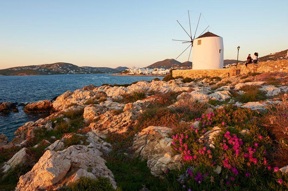 Griechenland: Griechenland wie wir es kennen und lieben: Windmühlen auf Paros dürfen bei unserer Insel-Route natürlich nicht fehlen
