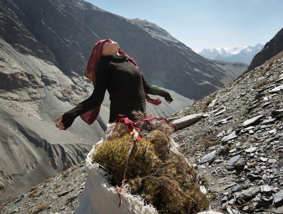Abenteuer: Kopftuchbinden: eine wichtige Kunst in der gleißenden Sonne. Stundenlang hat die junge Frau Gestrüpp gesammelt. Er dient zum Anfeuern der Öfen - und verbrennt in Sekunden