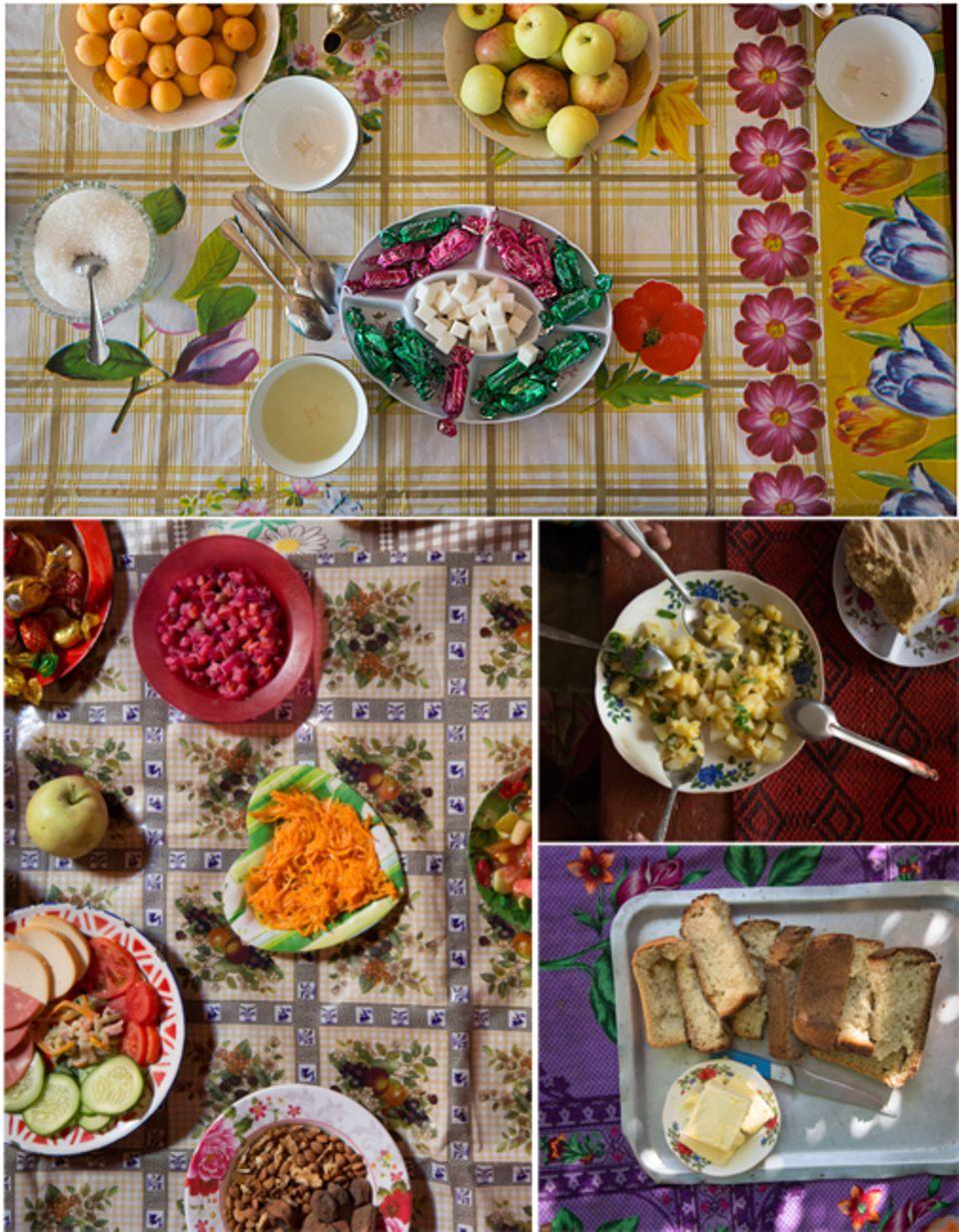 Abenteuer: Die Gastfreundschaft der Pamiri ist legendär, die Speisen farbenfroh. Die Bauern teilen selbst mit Wildfremden das Wenige, das sie haben. Zum Tee wird Fladenbrot gebrochen, zur Hauptmahlzeit gibt es Kartoffeln. Alle essen gemeinsam von einem Teller.