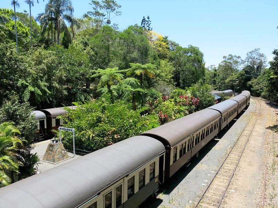 Australiens Ostküste: Je langsamer, desto besser: Die Züge der Kuranda Scenic Railway schlängeln sich von Cairns durch den Regenwald nach Kuranda. Knapp zwei Stunden dauert die Fahrt inklusive Fotostopp an den Barron Falls