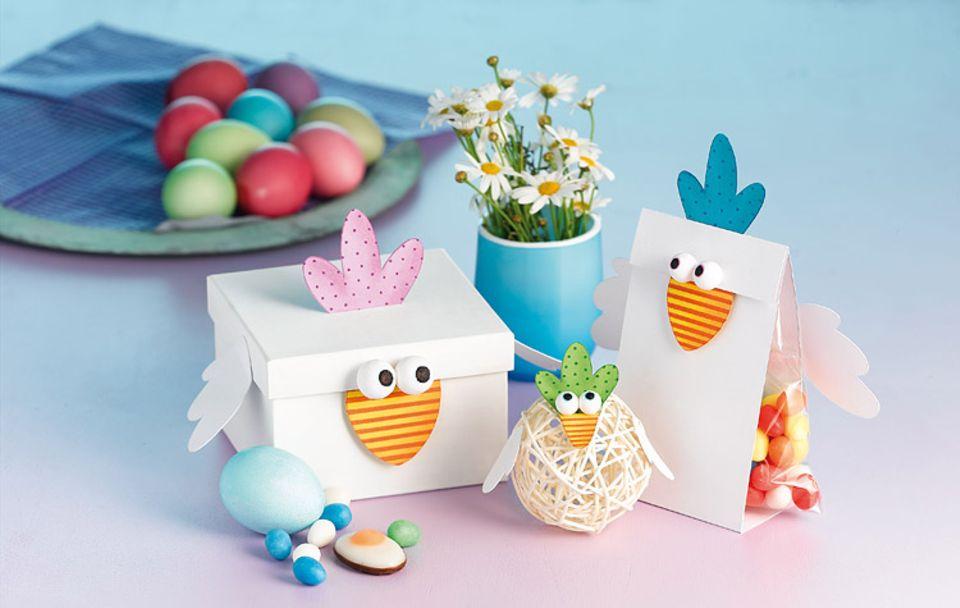 Basteln zu Ostern: Hühner-Verpackungen