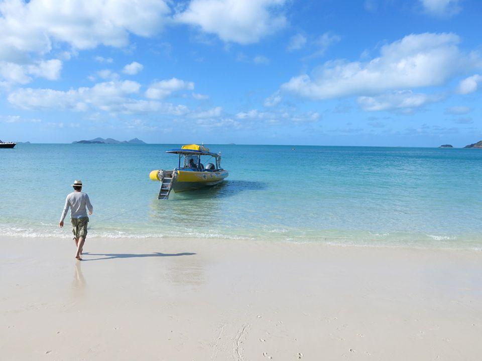 Australien: An diesem Strand wird jeder Handyschnappschuss zur Postkarte: Whitehaven Beach auf Whitsunday Island, der Hauptinsel der gleichnamigen Inselgruppe