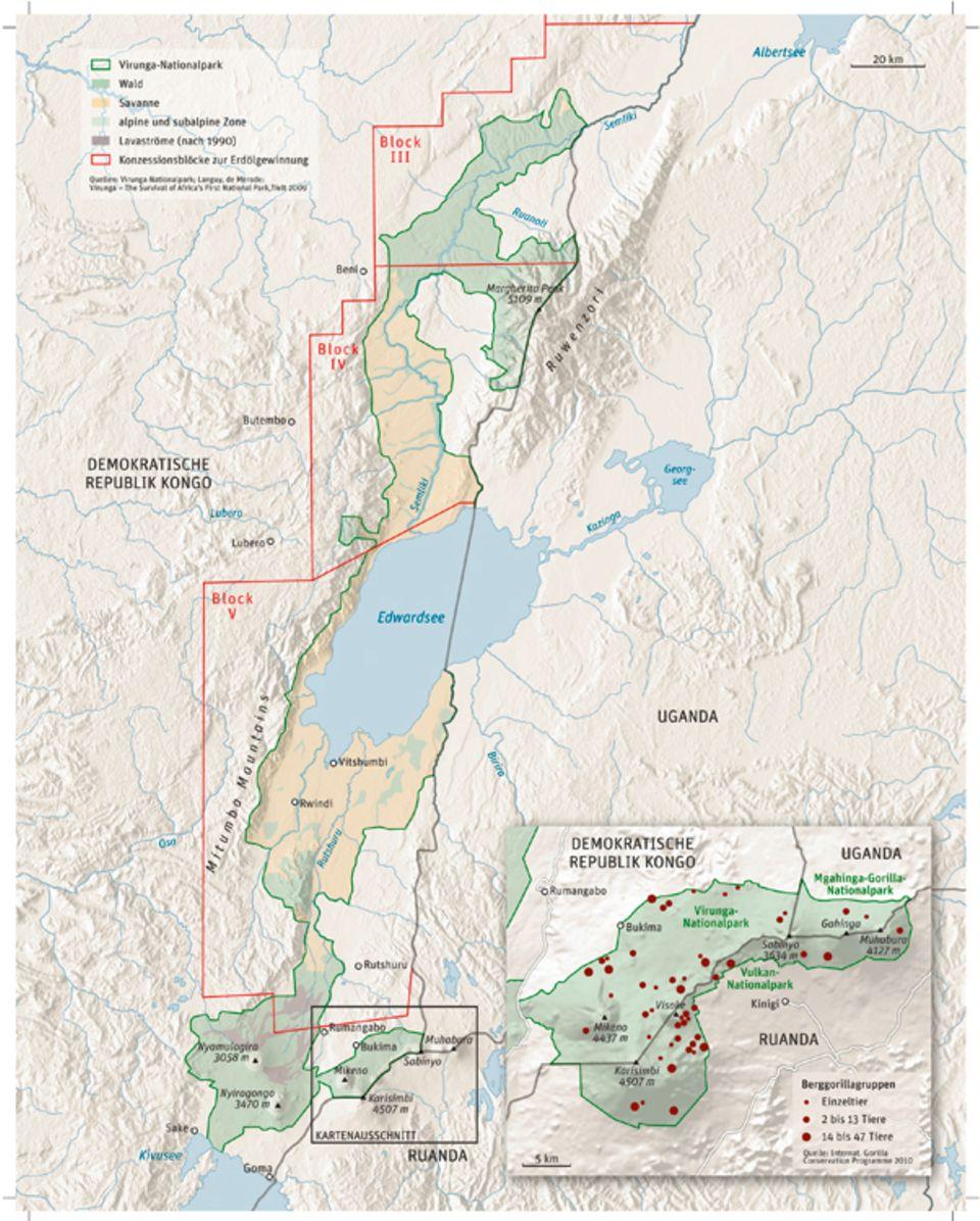 Demokratische Republik Kongo: Der Nationalpark Virunga in der Provinz Nord-Kivu, im Nordosten der D.R. Kongo erstreckt sich über rund 300 Kilometer Länge und bis zu 150 Kilometer Breite