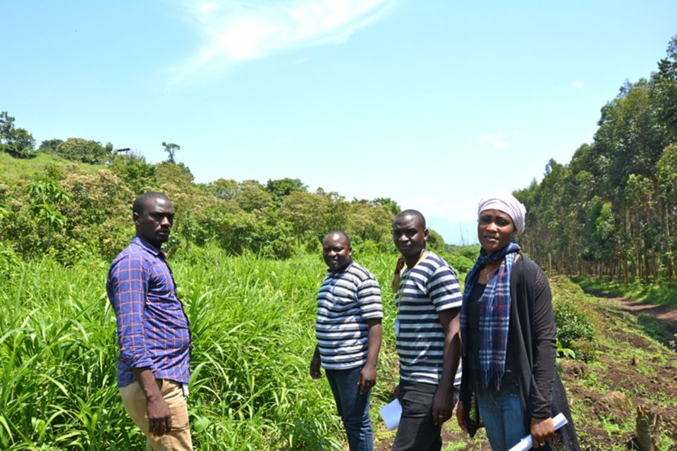 Demokratische Republik Kongo: Am 18. September 2015 begehen der zuständige Architekt, der Bauingenieur sowie die Witwen-Koordinatorin Nadine Rwamakuba gemeinsam das Baugelände in Rumangabo