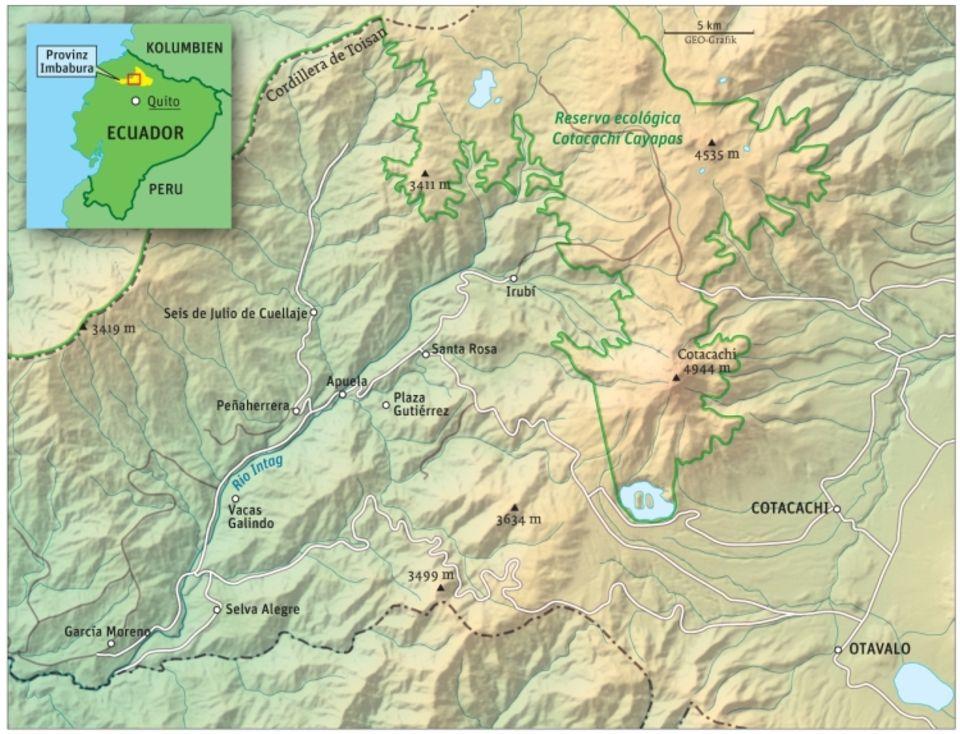 Ecuador: Die Projektregion Intag – im Norden das Waldschutzgebiet Cuellaje, begrenzt durch das Cotacachi-Cayapas-Naturreservat