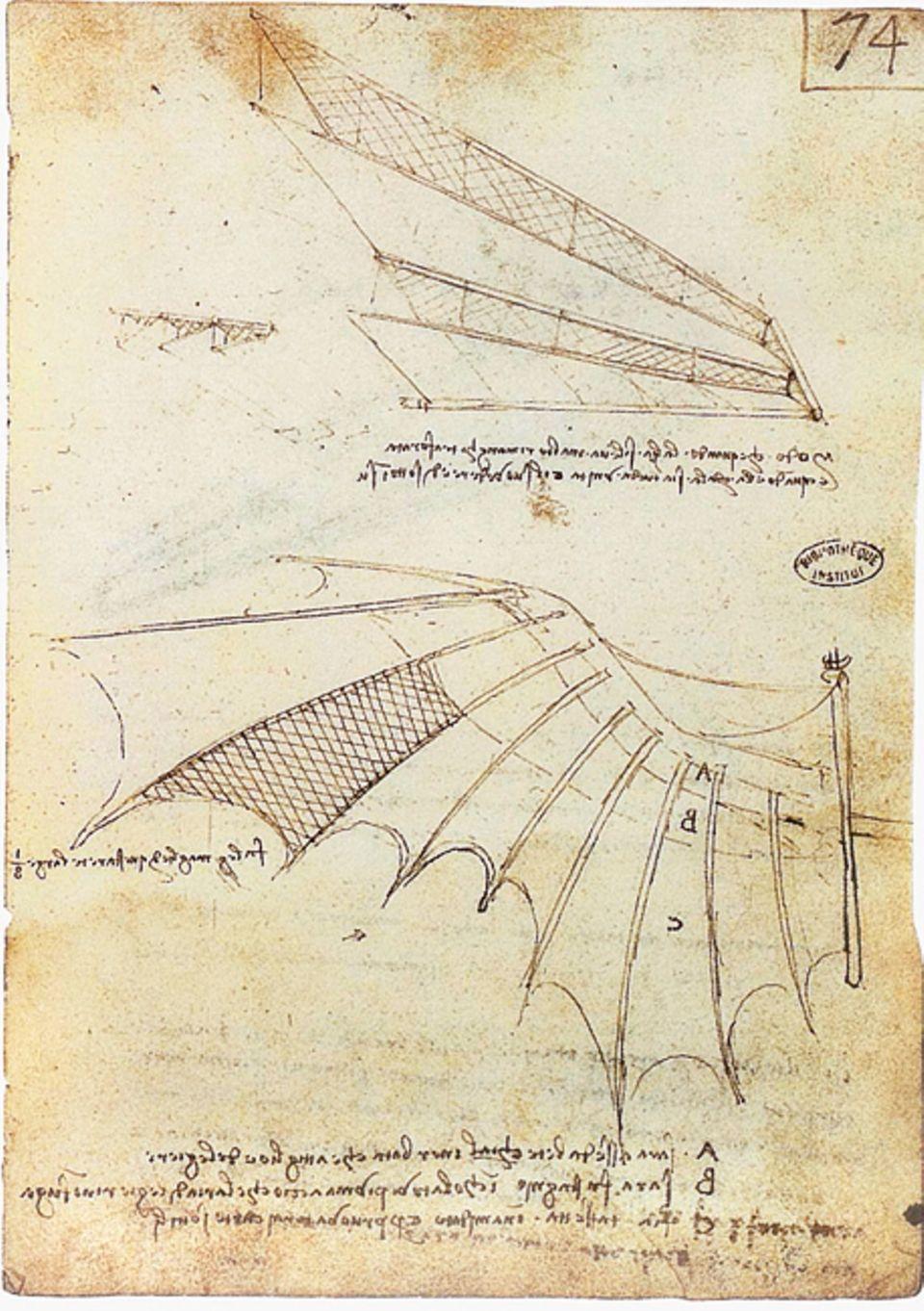 """Renaissance: """"Studien für eine Flügelgliederung"""": Mehr als 20 Meter Spannweite messen die Schwingen mancher der von Leonardo erdachten Flugapparate. Bei seinen Entwürfen orientiert er sich an der Anatomie der Fledermaus (um 1488)"""