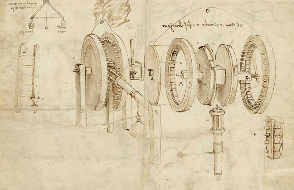 """Renaissance: """"Zahnräder und Hygrometer"""": Häufig beschäftigt sich das Universalgenie mit Mechanismen zur Kraftübertragung. Um 1485 ersinnt er eine Waage, mit der sich die Luftfeuchte bestimmen lässt"""