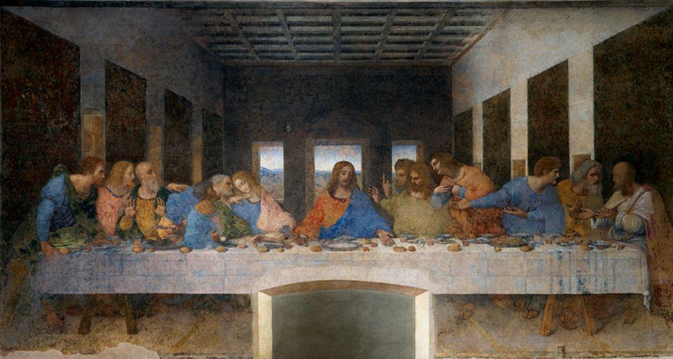 """Renaissance: """"Das letzte Abendmahl"""": Ein Verräter sei unter ihnen, verkündet Jesus den Aposteln - und entfesselt einen Sturm der Gefühle: Nie zuvor hat ein Künstler den Abschied Jesu von seinen Jüngern ergreifender dargestellt (um 1497)"""