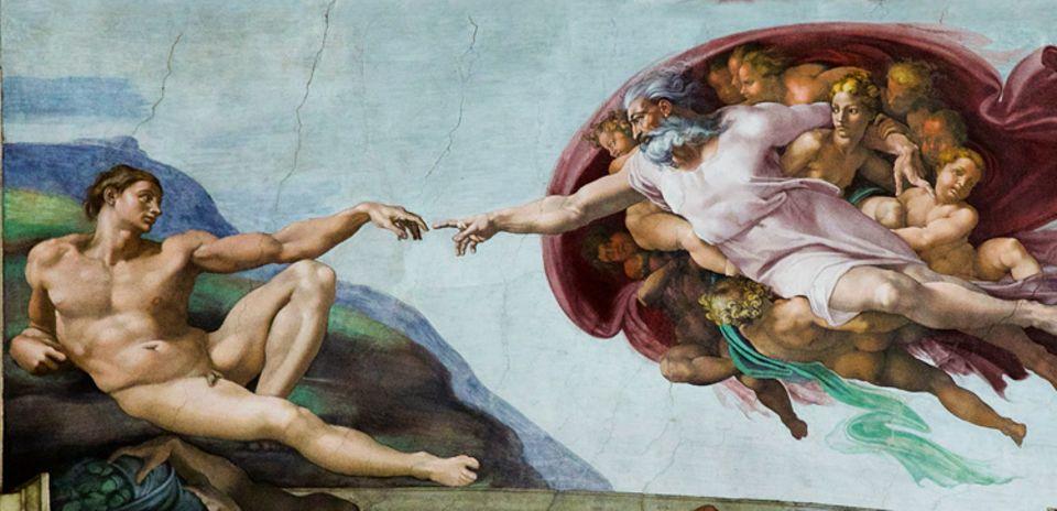 """Portfolio: """"Die Erschaffung Adams"""": Als sei er aus tiefem Schlaf erwacht, blickt der erste Mensch der Erde in das Antlitz Gottes, aus dessen Finger er das Leben empfangen hat (Sixtinische Kapelle, 1508–1512)"""