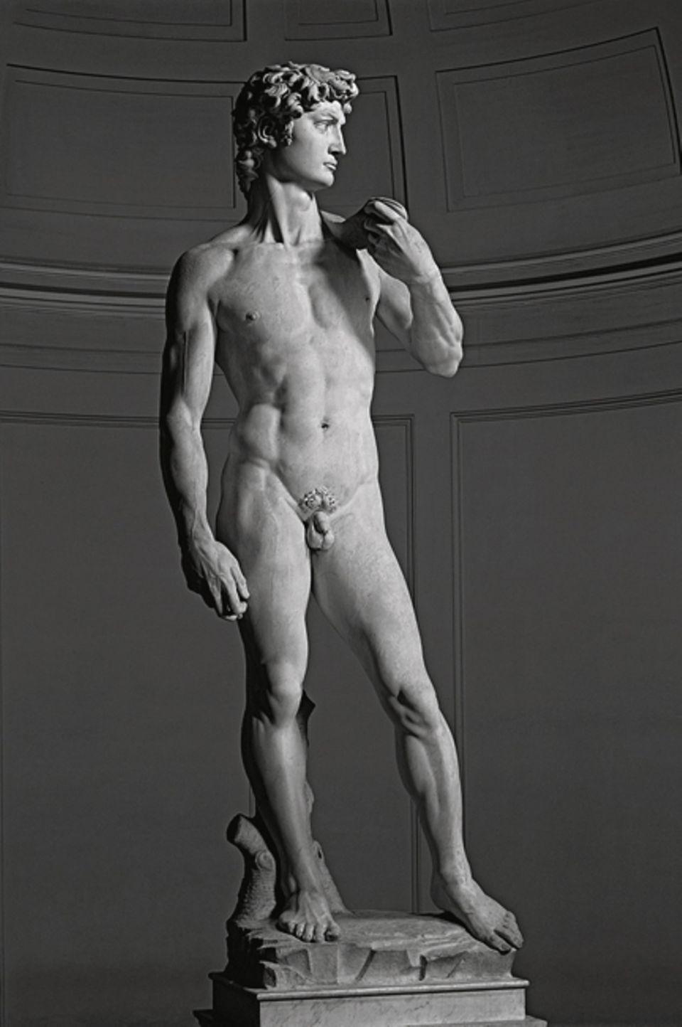 """Portfolio: """"David"""": Aus einem rund fünf Meter hohen Marmorblock haut der Florentiner Meister ab 1501 die erste frei stehende Kolossalstatue seit der Antike. Und feiert mit ihr die menschliche Willenskraft: Noch ruht die Schleuder auf Davids Schulter, doch im Geiste hat der Hirtenjunge Goliath bereits niedergestreckt"""