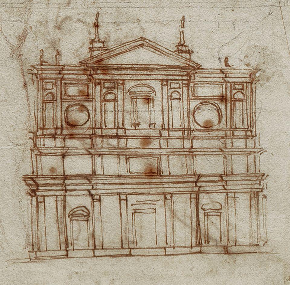 """Portfolio: """"Fassade von San Lorenzo"""": Auch als Architekt strebt Michelangelo nach Ruhm. Zu seinen ersten Aufträgen zählt die Neugestaltung der Klosterkirche im Marktviertel von Florenz, für die er um 1517 eine prachtvoll geschmückte Fassade ersinnt"""