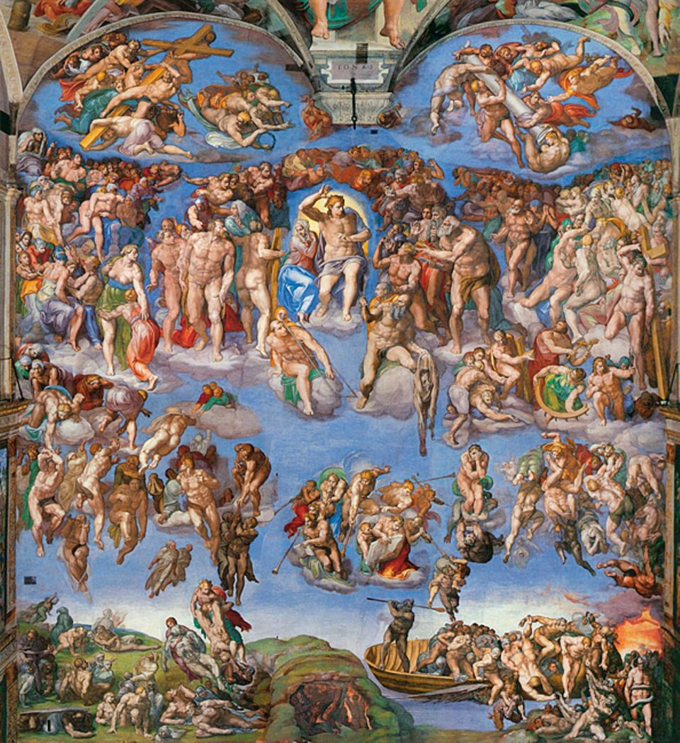 """Portfolio: """"Das Jüngste Gericht"""": Von Wolken getragen, steigen die Seligen in den Himmel auf; die Sünder aber stürzen taumelnd hinab gen Hölle: Fast 400 Nackte zeigt Michelangelo in seiner kühnen Version des Weltengerichts, das er 1541 an der Altarwand der Sixtina Kapelle vollendet"""