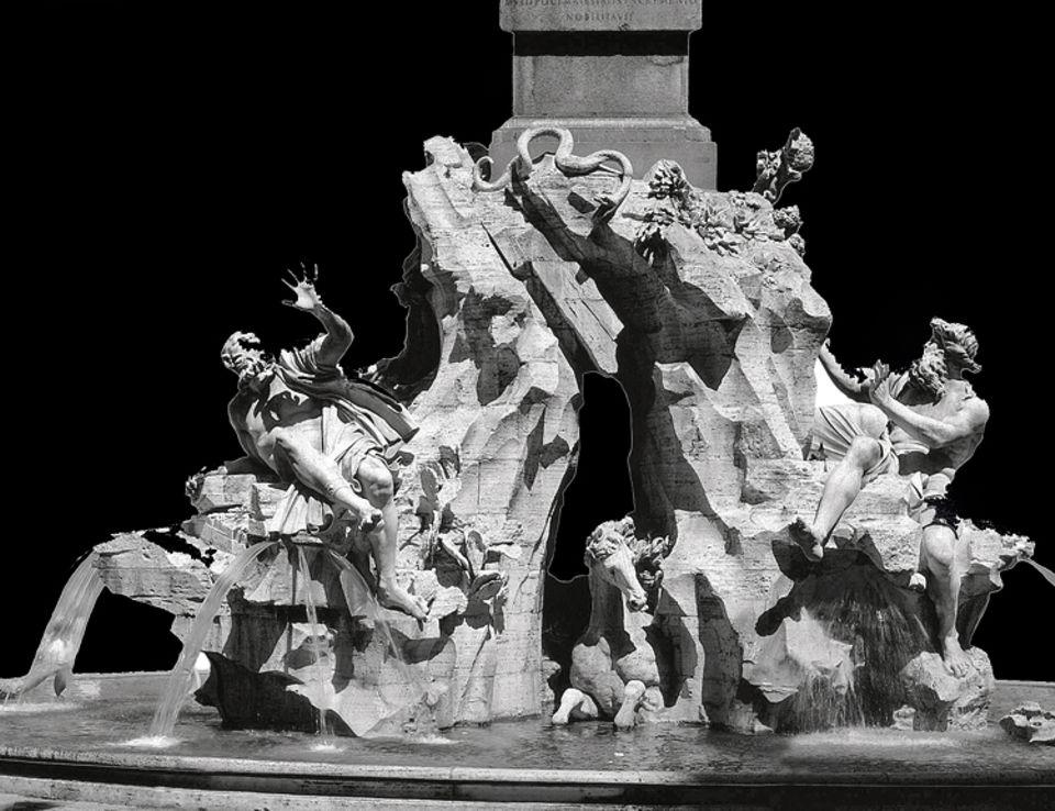 """Ein Leben für Rom: Mit dem """"Vier-Ströme-Brunnen"""" vollendet Bernini 1651 ein Sinnbild des päpstlichen Machtanspruchs: Unter einem Obelisken mit dem Wappen des Heiligen Vaters arrangiert er Flussgötter als Allegorien der vier Erdteile (hier: Río de la Plata und Donau)"""