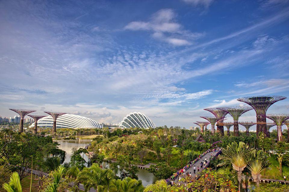 Zwischenstopp Zukunft: Künstliche Bäume mit Lichtinstallationen sind nur eine der vielen Überraschungen, die Singapur für Kinderaugen bereit hält