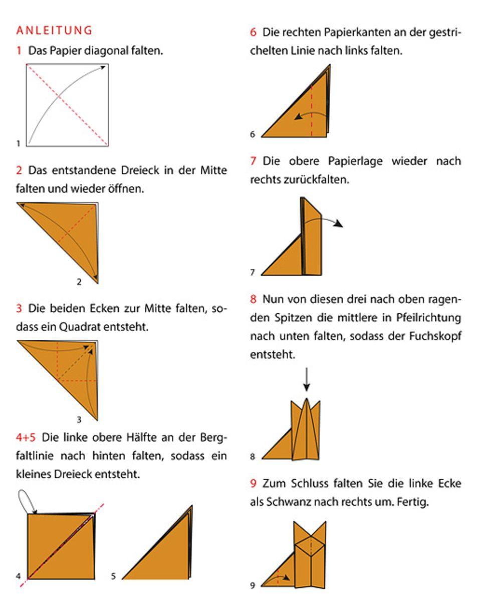 Anleitung: Origami Fuchs falten