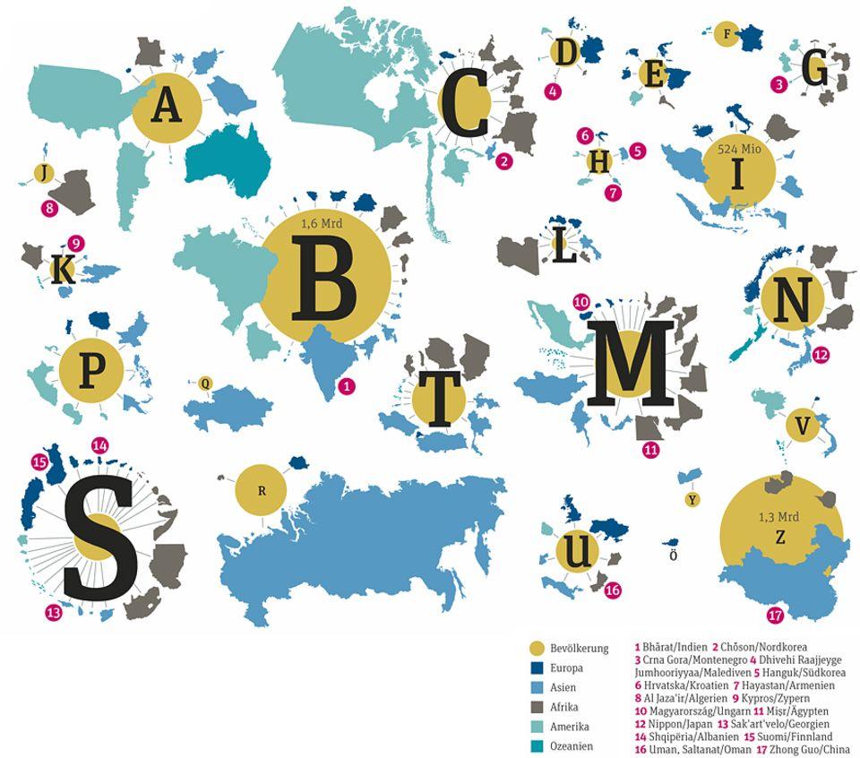 Weltspiel: Die Grafik zeigt, mit welchem Anfangsbuchstaben die meisten Staatsnamen beginnen