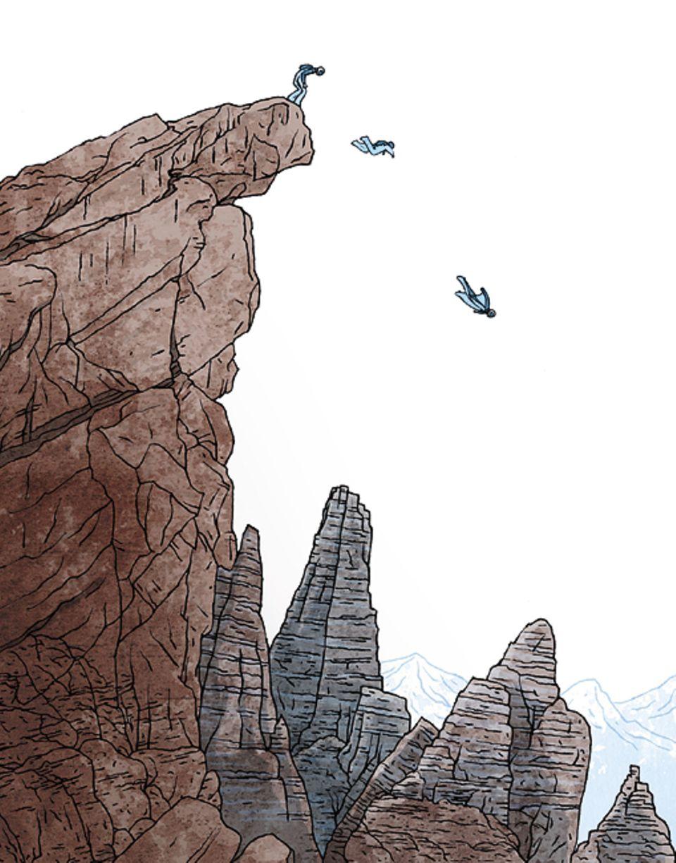 Risiko-Bereitschaft: Mit einem Wingsuit stürzen sich Risikofreudige von Felsvorsprüngen. Auch sie empfinden Angst, können aber der Verlockung intensiver Gefühle nicht widerstehen