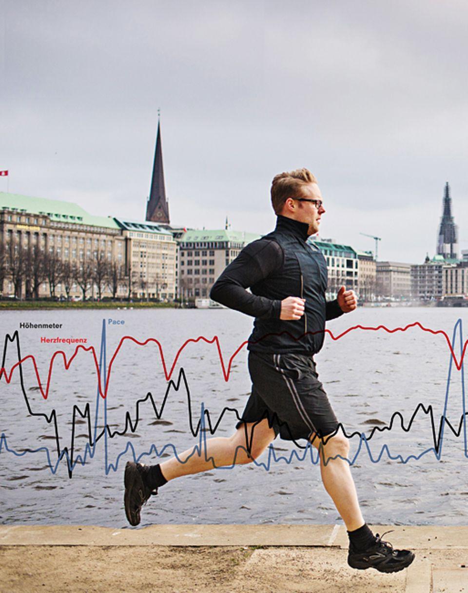 Wenn der Hamburger Arne Tensfeldt, 33, um die Aslter läuft, misst er Herzfrequenz, Höhenmeter und seine Pace (benötigte Minuten pro Kilometer)
