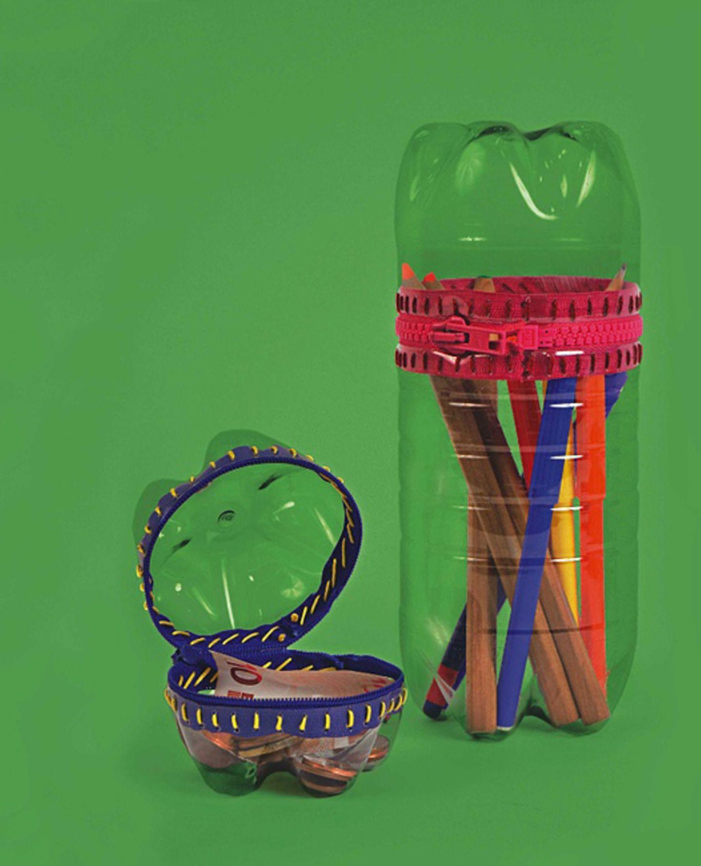 Basteln: Praktisch: Eine Stiftebox aus einer Plastikflasche