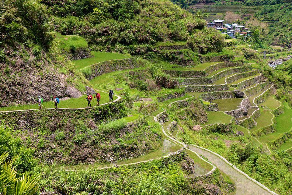 Philippinen: Auf dem Weg in das kleine Dorf Batad. Touristen, die an einer Wanderung durch die Reisterrassen der Ifugao teilnehmen, werden in einem typischen Haus im Tal die Nacht verbringen. Ein sogenannter Homestay