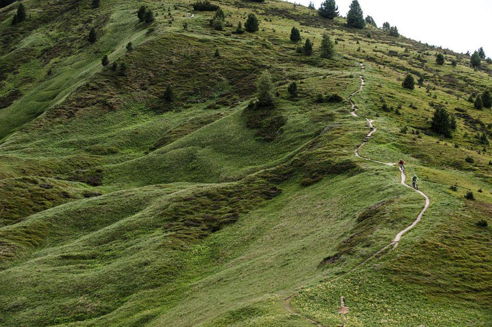 """Val Gardena: Vom entspannten Schotterweg bis zum anspruchsvollen Singletrail ist auf der Seceda alles geboten. Die Tour """"Unter den Geislern"""" kann also in Punkto Variantenreichtum aus dem Vollen schöpfen"""