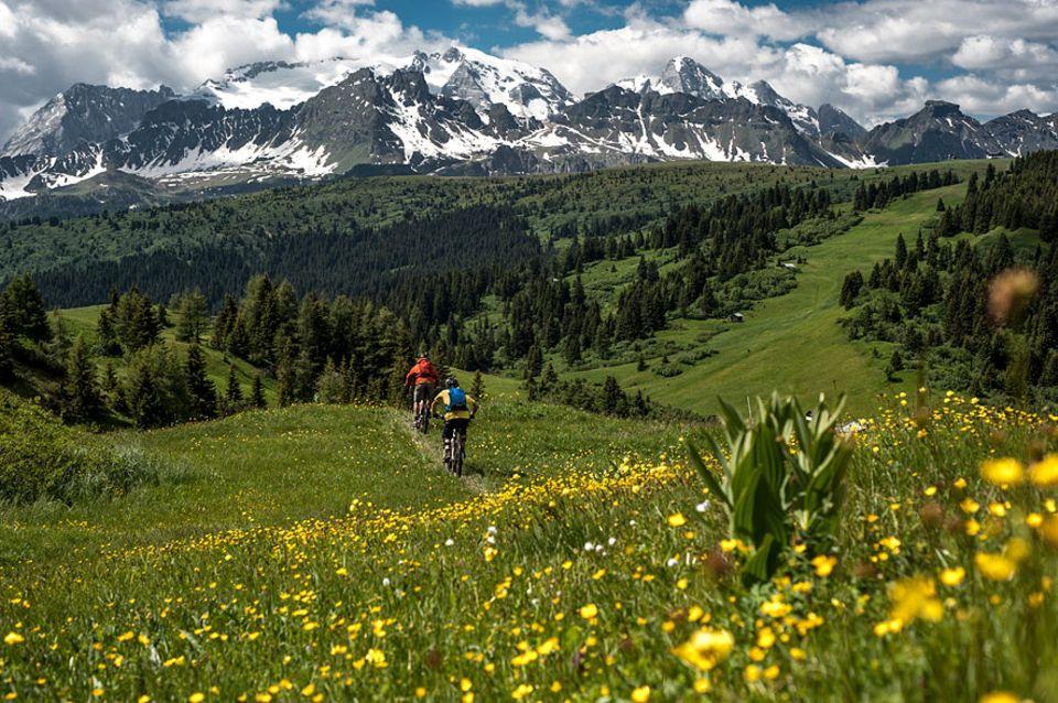 Val Gardena: Blühende Almwiesen und endlose Mountainbike Routen zu Füßen der großen Kalkriesen