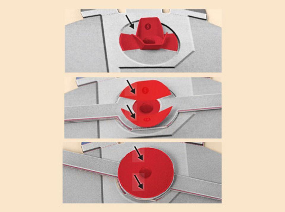 Basteltipp: Wenn die Klebestelle 3 gut getrocknet ist, drückt die Innenlaschen leicht zusammen und stülpt das verklebte Teil mit der 4 vorsichtig darüber. Knickt die Innenlaschen nach außen und klebt 5 und 5a darauf. ACHTUNG: nur die markierten Bereiche kleben!