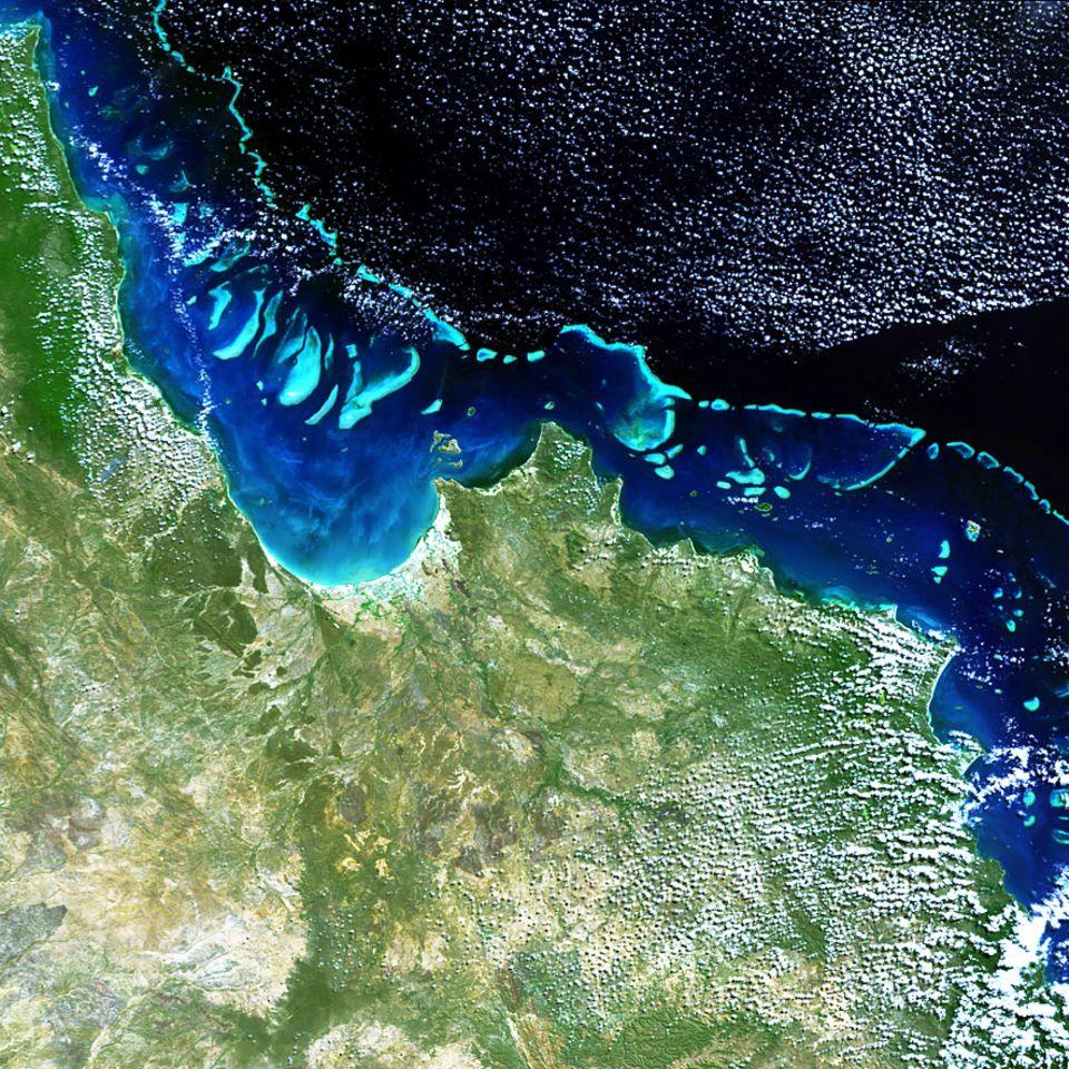Great Barrier Riff: Sogar aus dem All sichtbar: Das Great Barrier Riff erstreckt sich auf einer Fläche von 350.000 Quadratkilometern. Das entspricht in etwa der Fläche Deutschlands