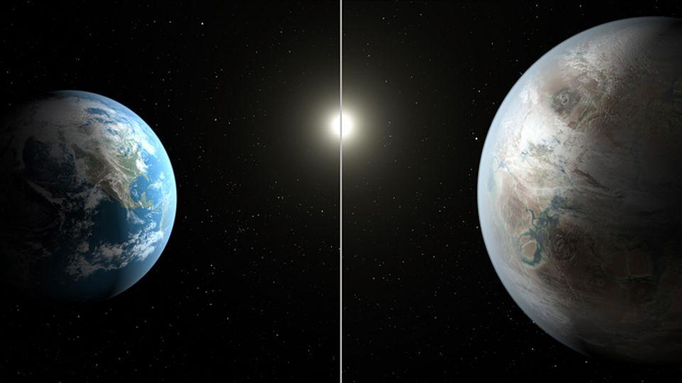 Weltraumforschung: Kepler-452b (r.) ist mit seinem 60 Prozent größeren Durchmesser etwas größer als unsere Erde (l.)