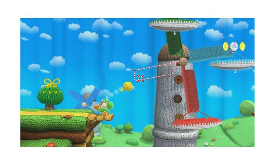Konsolenspiel: Wirft Yoshi mit einem Wollknäuel auf Gitter, wird das Knäul praktisch versponnen