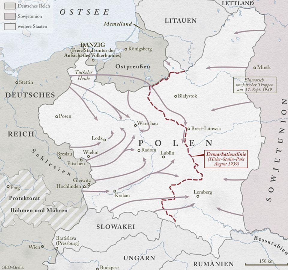 Zweiter Weltkrieg: Am 1. September 1939 marschiert die Wehrmacht in Polen ein – das ist der Auftakt zum Zweiten Weltkrieg. Von Ostpreußen, Pommern, Schlesien und der alliierten Slowakei aus rücken die deutschen Soldaten rasch vor. Und am 17. September greift die UdSSR, im Hitler-Stalin-Pakt mit Deutschland verbunden, den Osten des Landes an