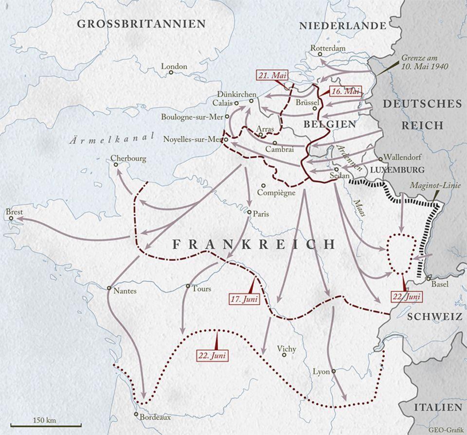 Zweiter Weltkrieg: Mitte Mai 1940 durchbrechen die deutschen Panzertruppen die französische Grenze in den Ardennen, fallen in Belgien und den Niederlanden ein und rücken in einem Bogen zur Küste des Ärmelkanals vor. So umschließen sie im Norden Hunderttausende alliierte Soldaten. Dann dringt die Wehrmacht weiter nach Süden und Westen vor
