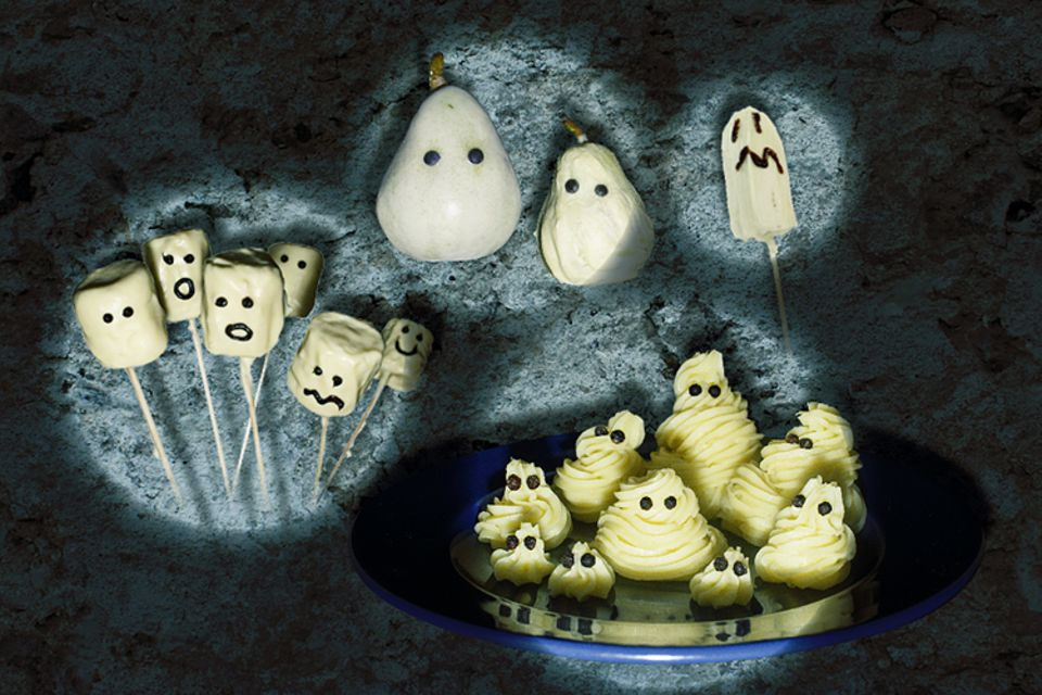 Halloween-Rezepte: Ob Marshmallow-Gespenster, Grusel-Birnen, Geister-Bananen oder Creme-Gespenster: Hier ist bestimmt für jeden Geschmack etwas dabei!