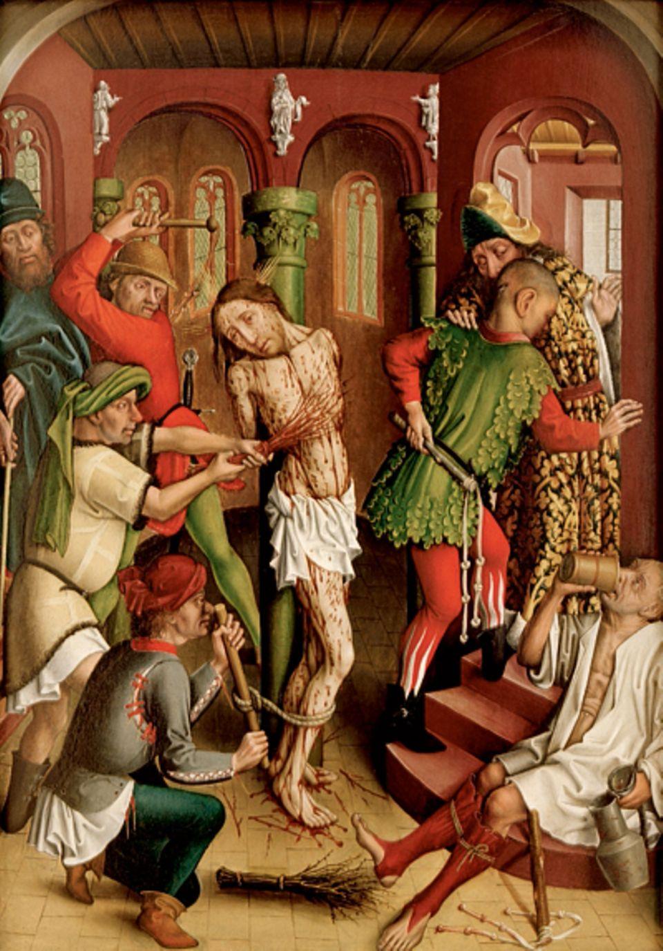 """Malerei vor Dürer: Um 1450 beschönigen die Maler ihre Motive nicht mehr so sehr: Hans Hirtz zeigt bei der """"Geisselung christi"""" den blutüberströmten Körper Jesu - und Peiniger, die ungerührt ihr Werk verrichten"""